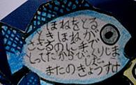 小さい魚にメッセージが!